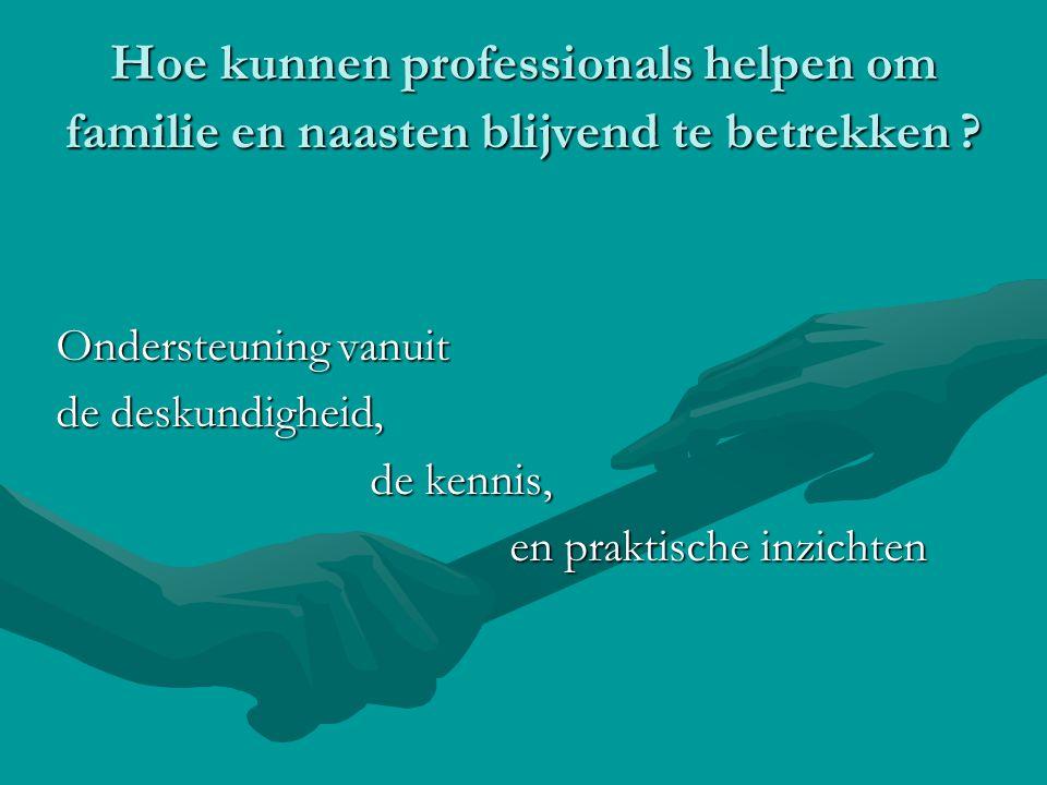 Hoe kunnen professionals helpen om familie en naasten blijvend te betrekken ? Ondersteuning vanuit de deskundigheid, de kennis, en praktische inzichte