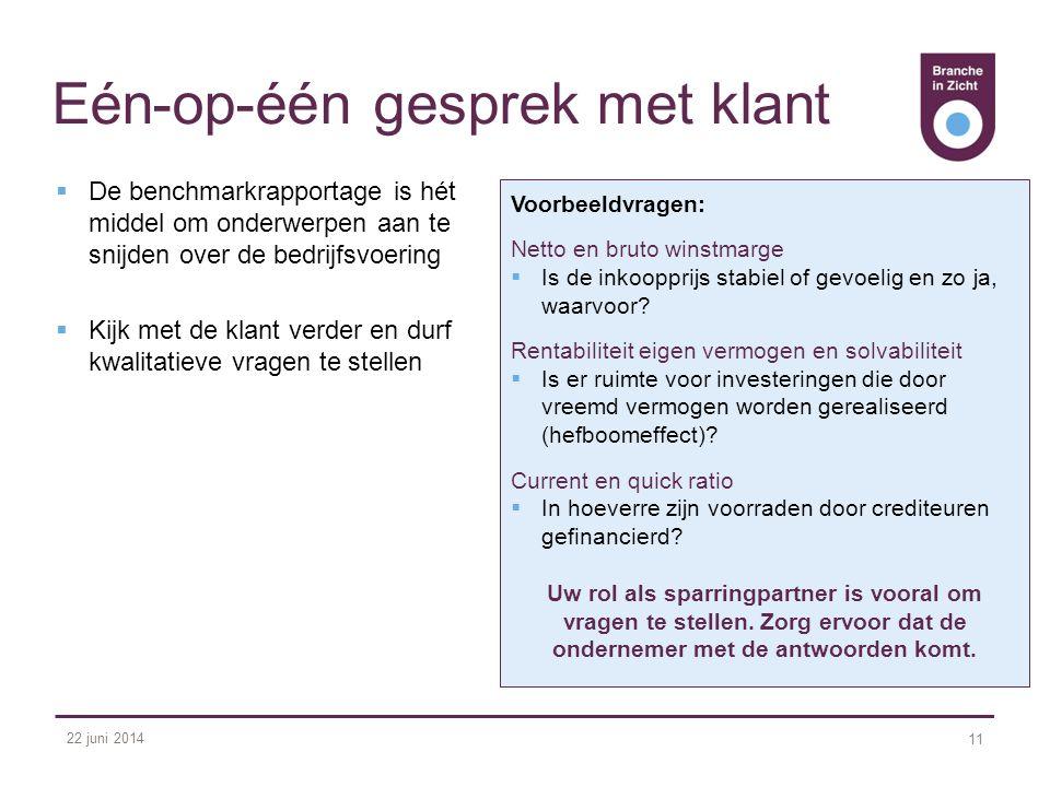 22 juni 2014 11 Eén-op-één gesprek met klant  De benchmarkrapportage is hét middel om onderwerpen aan te snijden over de bedrijfsvoering  Kijk met d