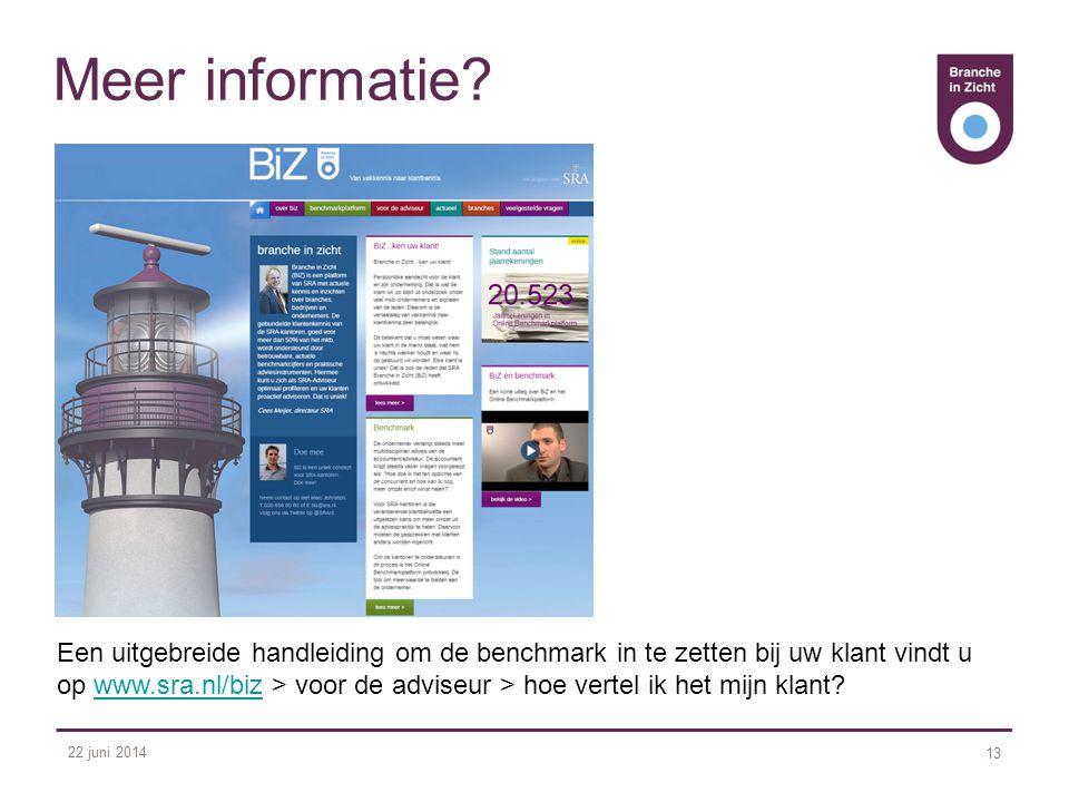 22 juni 2014 13 Meer informatie? Een uitgebreide handleiding om de benchmark in te zetten bij uw klant vindt u op www.sra.nl/biz > voor de adviseur >