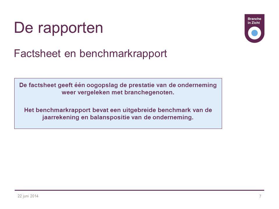 22 juni 2014 7 De rapporten De factsheet geeft één oogopslag de prestatie van de onderneming weer vergeleken met branchegenoten. Het benchmarkrapport