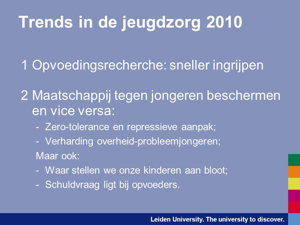Leiden University. The university to discover. Trends in de jeugdzorg 2010 1Opvoedingsrecherche: sneller ingrijpen 2Maatschappij tegen jongeren besche