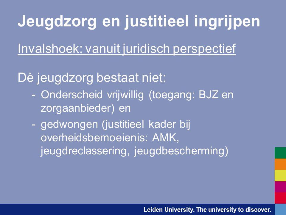 Leiden University. The university to discover. Jeugdzorg en justitieel ingrijpen Invalshoek: vanuit juridisch perspectief Dè jeugdzorg bestaat niet: -