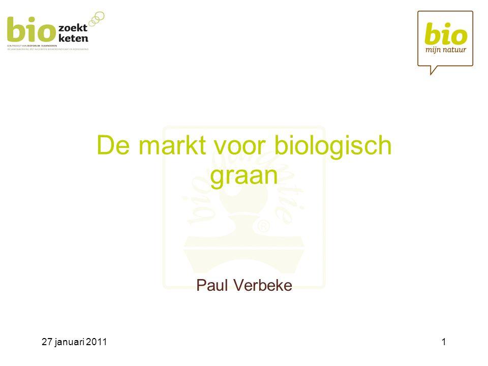 27 januari 201112 Belgische markt voor biograan Vlaanderen (ha)Wallonië (ha) Granen4232491 Aardappelen68203 Voedergewassen860533 Braak58174 Hop14- Andere-1160 Totaal14234561 In Vlaanderen nauwelijks typische akkerbouwbedrijven