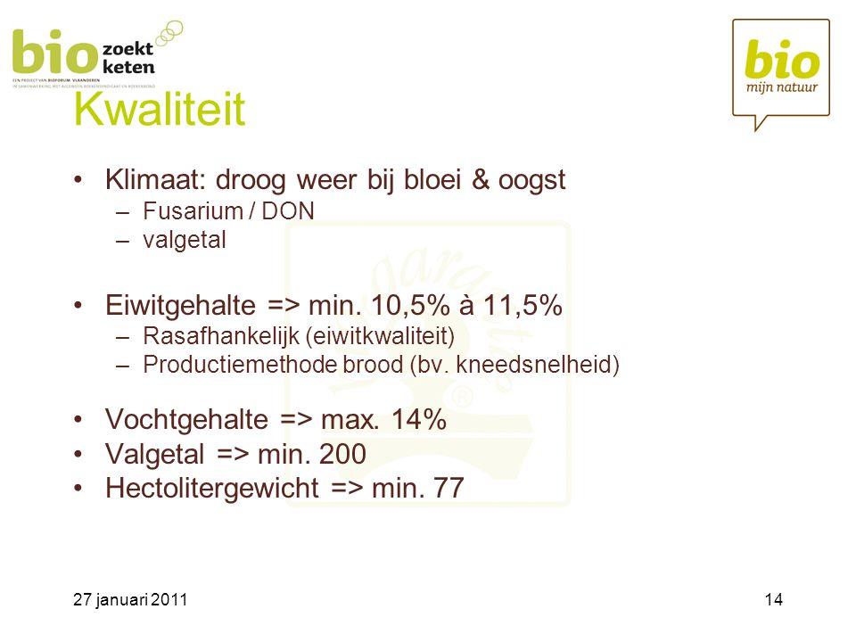 27 januari 201114 Kwaliteit •Klimaat: droog weer bij bloei & oogst –Fusarium / DON –valgetal •Eiwitgehalte => min.