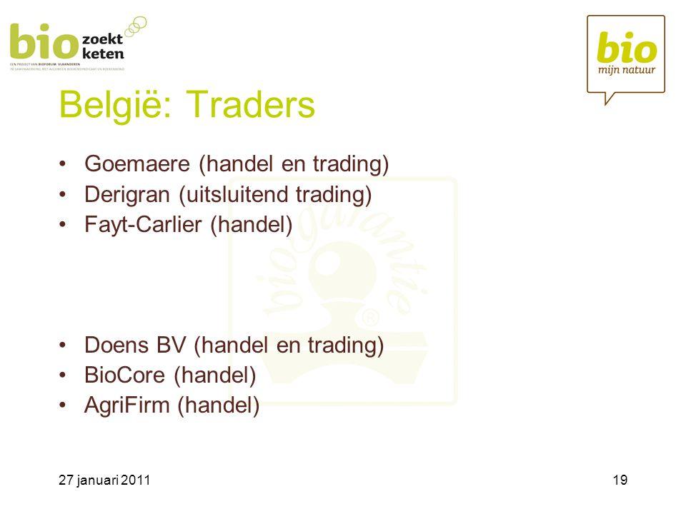 27 januari 201119 België: Traders •Goemaere (handel en trading) •Derigran (uitsluitend trading) •Fayt-Carlier (handel) •Doens BV (handel en trading) •BioCore (handel) •AgriFirm (handel)