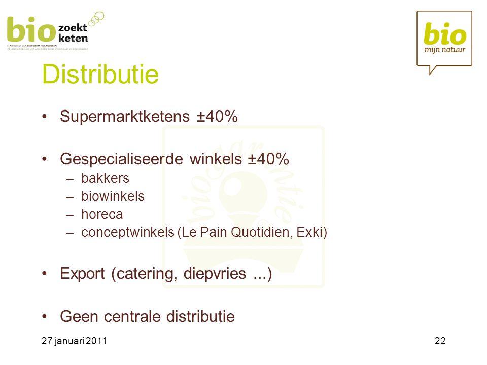 27 januari 201122 Distributie •Supermarktketens ±40% •Gespecialiseerde winkels ±40% –bakkers –biowinkels –horeca –conceptwinkels (Le Pain Quotidien, Exki) •Export (catering, diepvries...) •Geen centrale distributie