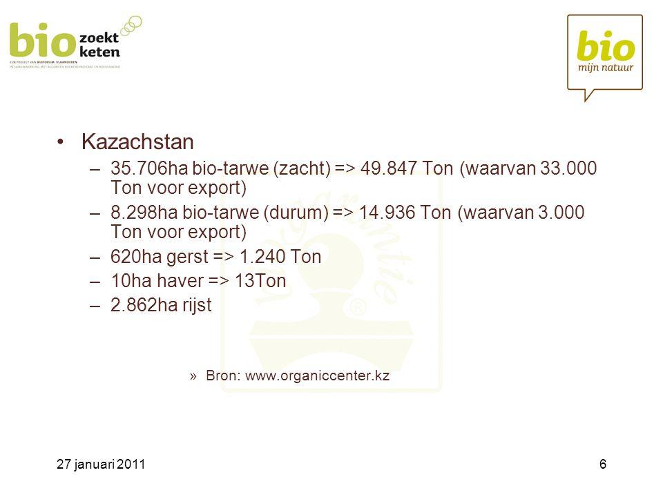 27 januari 20116 •Kazachstan –35.706ha bio-tarwe (zacht) => 49.847 Ton (waarvan 33.000 Ton voor export) –8.298ha bio-tarwe (durum) => 14.936 Ton (waarvan 3.000 Ton voor export) –620ha gerst => 1.240 Ton –10ha haver => 13Ton –2.862ha rijst »Bron: www.organiccenter.kz