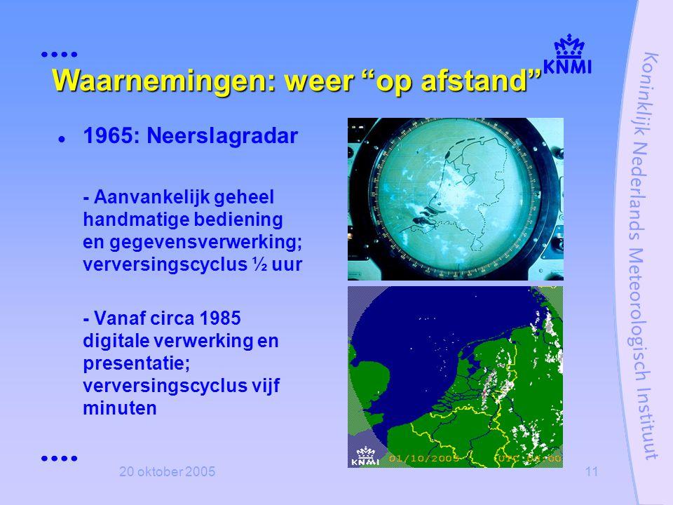 """20 oktober 200511 Waarnemingen: weer """"op afstand""""  1965: Neerslagradar - Aanvankelijk geheel handmatige bediening en gegevensverwerking; verversingsc"""