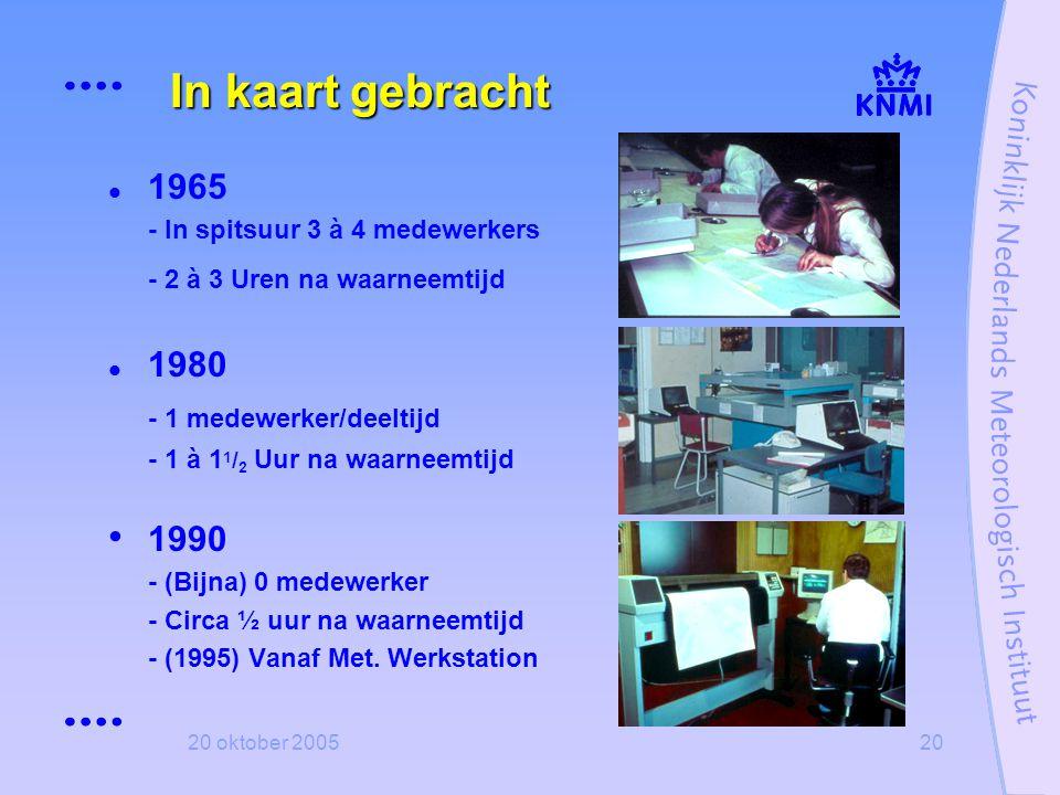 20 oktober 200520 In kaart gebracht  1965 - In spitsuur 3 à 4 medewerkers - 2 à 3 Uren na waarneemtijd  1980 - 1 medewerker/deeltijd - 1 à 1 1 / 2 U