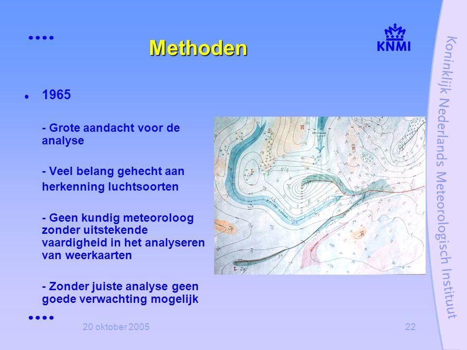 20 oktober 200522 Methoden  1965 - Grote aandacht voor de analyse - Veel belang gehecht aan herkenning luchtsoorten - Geen kundig meteoroloog zonder