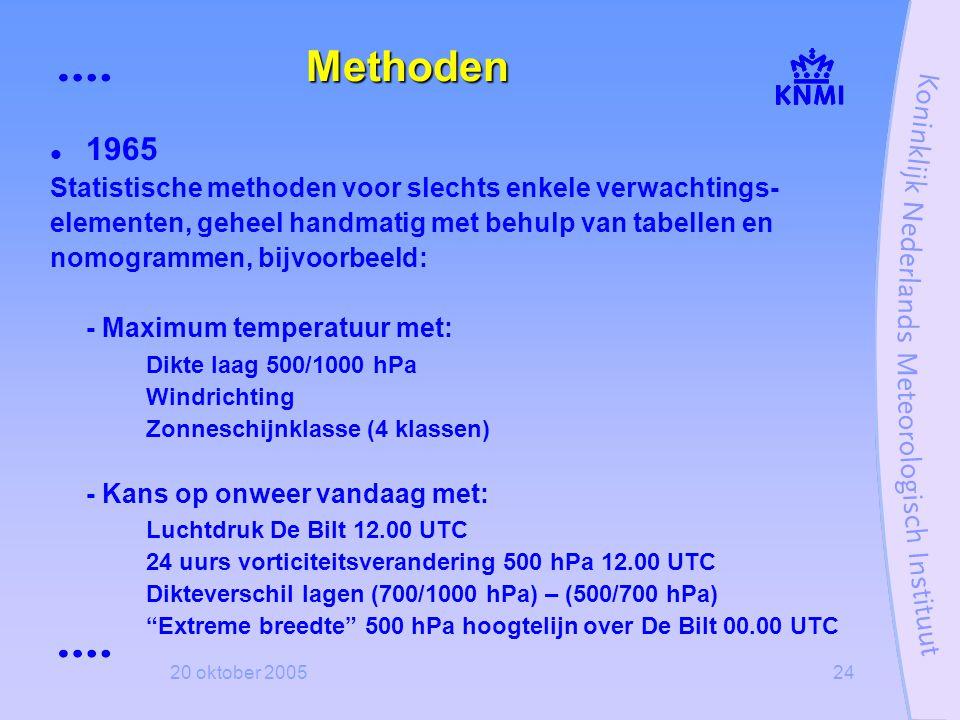 20 oktober 200524 Methoden  1965 Statistische methoden voor slechts enkele verwachtings- elementen, geheel handmatig met behulp van tabellen en nomog
