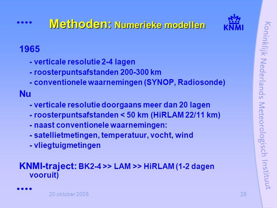 20 oktober 200525 Methoden: Numerieke modellen 1965 - verticale resolutie 2-4 lagen - roosterpuntsafstanden 200-300 km - conventionele waarnemingen (S