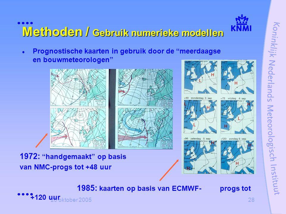 """20 oktober 200528 Methoden / Gebruik numerieke modellen  Prognostische kaarten in gebruik door de """"meerdaagse en bouwmeteorologen"""" 1972: """"handgemaakt"""