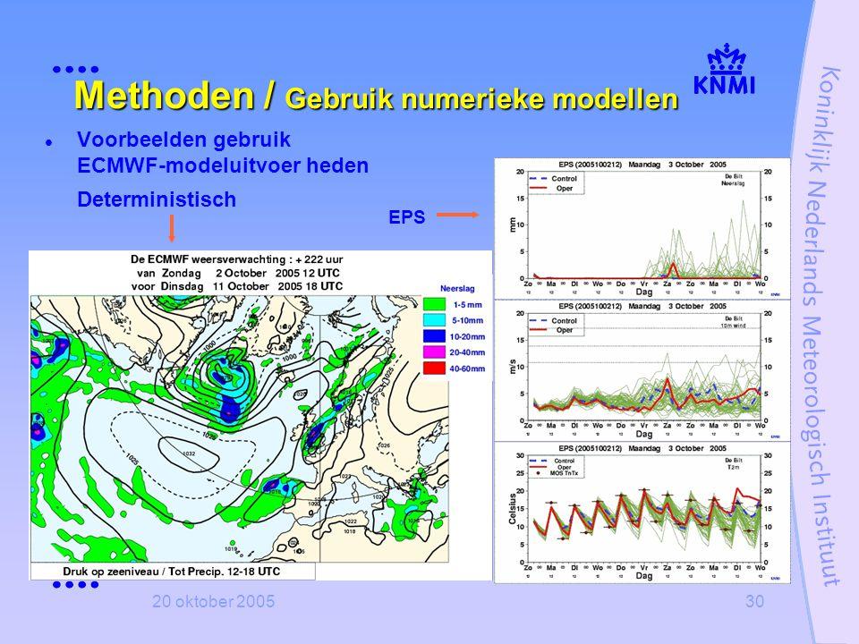 20 oktober 200530 Methoden / Gebruik numerieke modellen  Voorbeelden gebruik ECMWF-modeluitvoer heden Deterministisch EPS