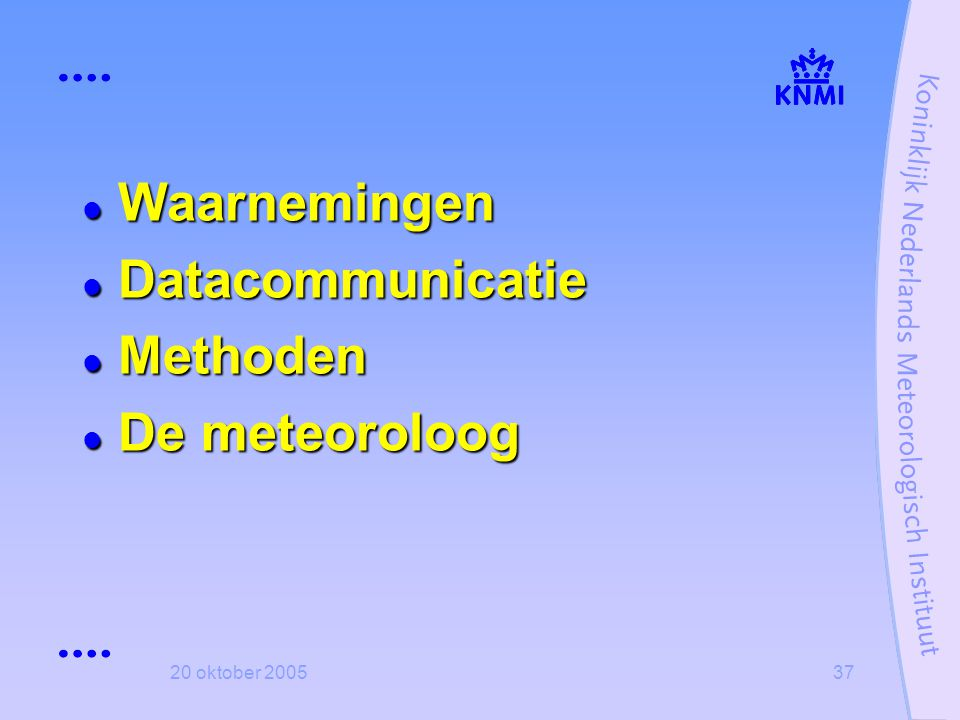 20 oktober 200537  Waarnemingen  Datacommunicatie  Methoden  De meteoroloog