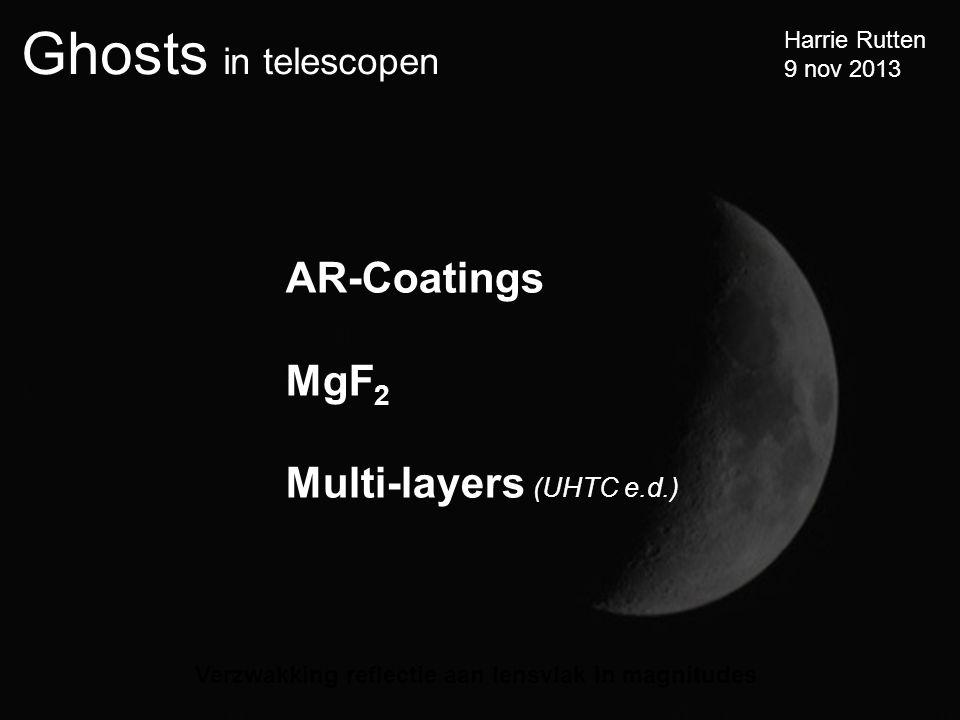 Ghosts in telescopen Harrie Rutten 9 nov 2013 Verzwakking reflectie aan lensvlak in magnitudes AR-Coatings MgF 2 Multi-layers (UHTC e.d.)