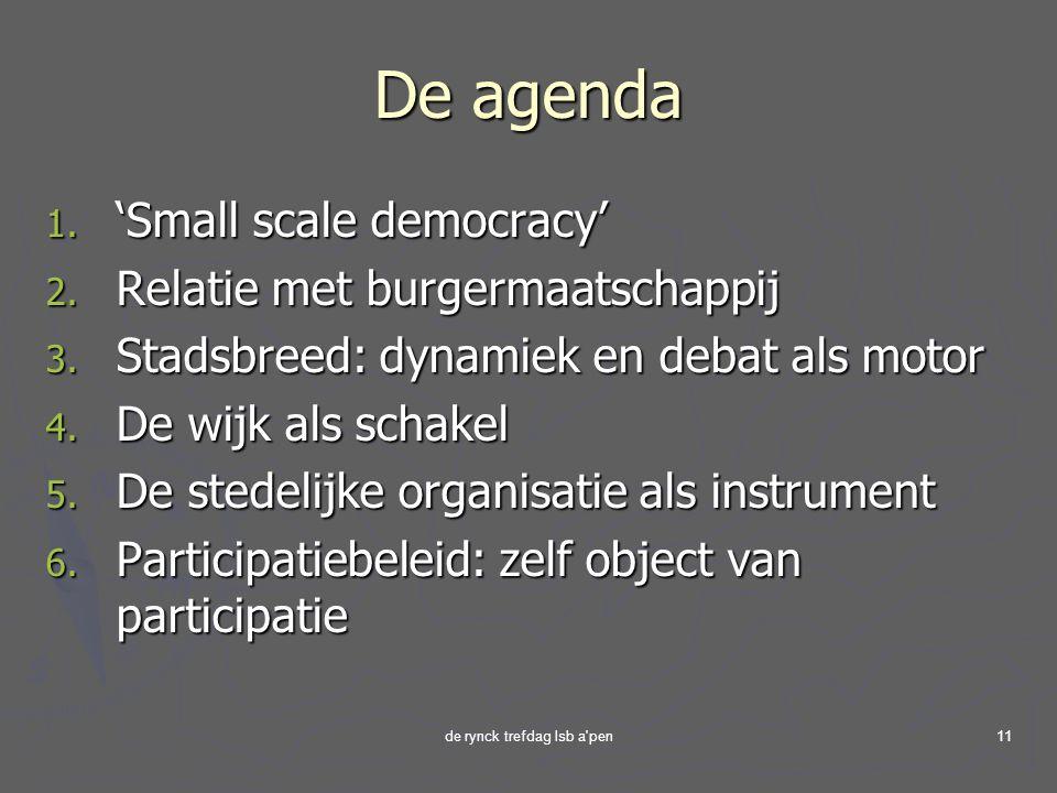 de rynck trefdag lsb a pen11 De agenda 1.'Small scale democracy' 2.