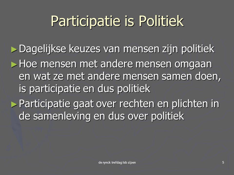 de rynck trefdag lsb a pen5 Participatie is Politiek ► Dagelijkse keuzes van mensen zijn politiek ► Hoe mensen met andere mensen omgaan en wat ze met andere mensen samen doen, is participatie en dus politiek ► Participatie gaat over rechten en plichten in de samenleving en dus over politiek