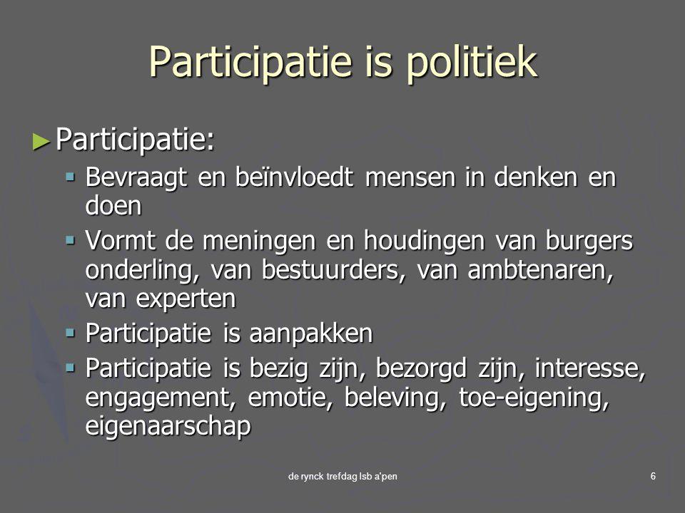 de rynck trefdag lsb a pen6 Participatie is politiek ► Participatie:  Bevraagt en beïnvloedt mensen in denken en doen  Vormt de meningen en houdingen van burgers onderling, van bestuurders, van ambtenaren, van experten  Participatie is aanpakken  Participatie is bezig zijn, bezorgd zijn, interesse, engagement, emotie, beleving, toe-eigening, eigenaarschap