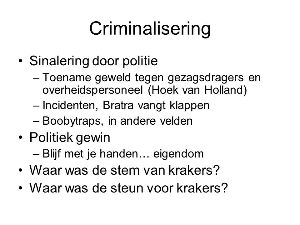 Criminalisering •Sinalering door politie –Toename geweld tegen gezagsdragers en overheidspersoneel (Hoek van Holland) –Incidenten, Bratra vangt klappe