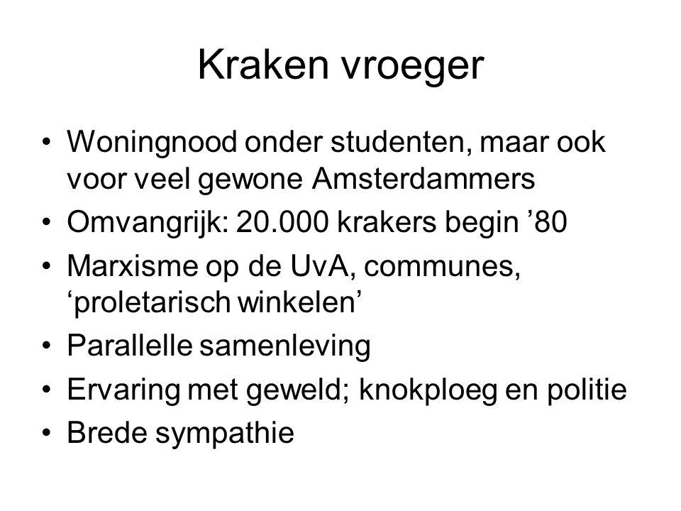 Kraken vroeger •Woningnood onder studenten, maar ook voor veel gewone Amsterdammers •Omvangrijk: 20.000 krakers begin '80 •Marxisme op de UvA, commune
