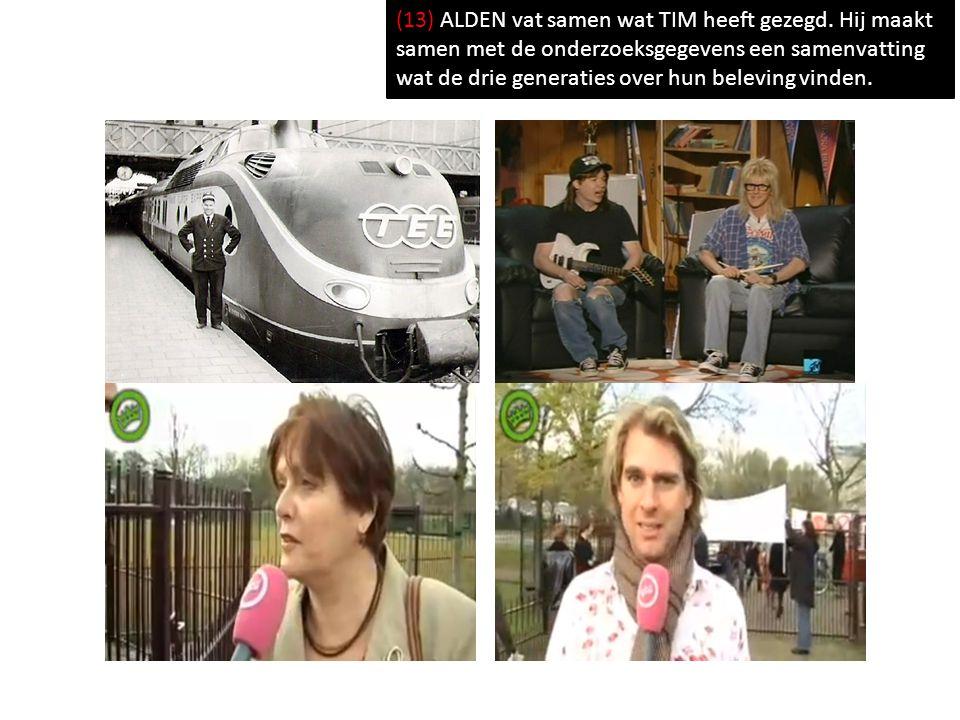 (13) ALDEN vat samen wat TIM heeft gezegd. Hij maakt samen met de onderzoeksgegevens een samenvatting wat de drie generaties over hun beleving vinden.