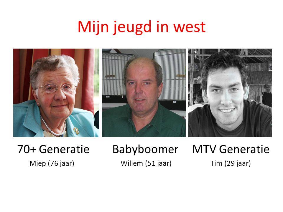 Mijn jeugd in west 70+ Generatie Babyboomer MTV Generatie Miep (76 jaar) Willem (51 jaar) Tim (29 jaar)
