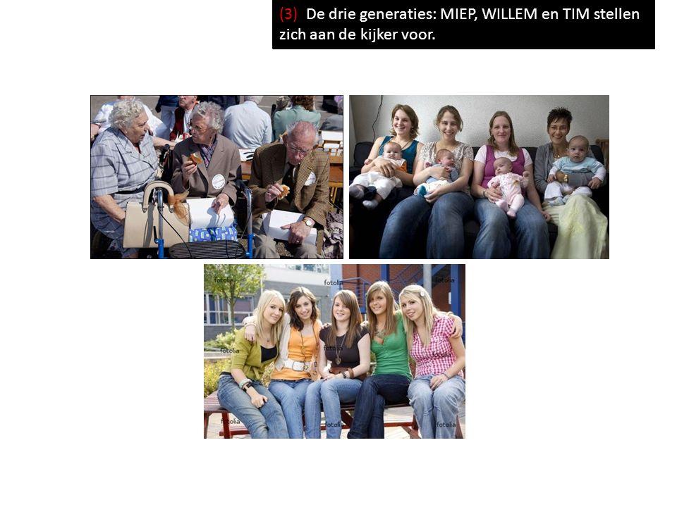 (3) De drie generaties: MIEP, WILLEM en TIM stellen zich aan de kijker voor.