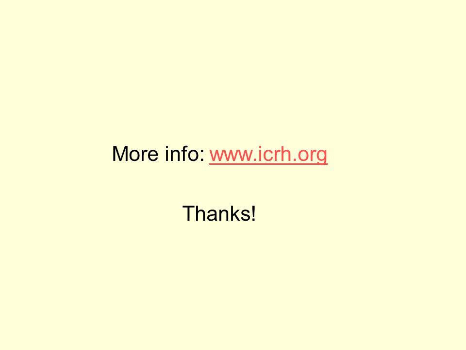 More info: www.icrh.orgwww.icrh.org Thanks!