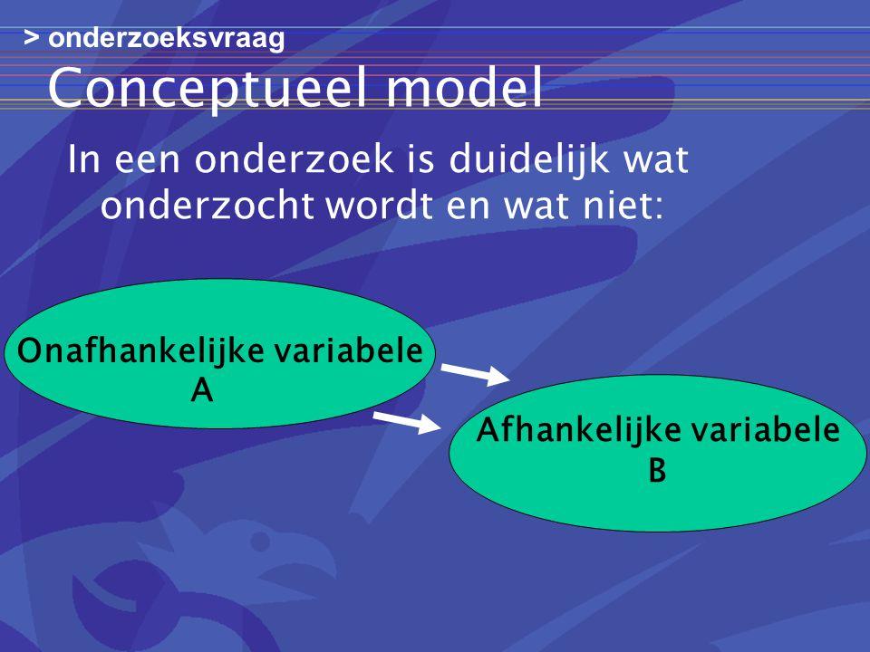 Conceptueel model In een onderzoek is duidelijk wat onderzocht wordt en wat niet: Onafhankelijke variabele Afhankelijke variabele B A