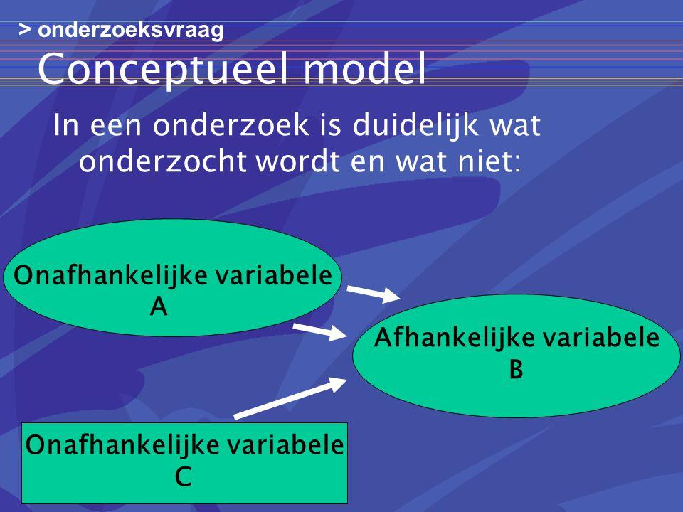 Conceptueel model In een onderzoek is duidelijk wat onderzocht wordt en wat niet: Onafhankelijke variabele Afhankelijke variabele B Onafhankelijke variabele C A > onderzoeksvraag