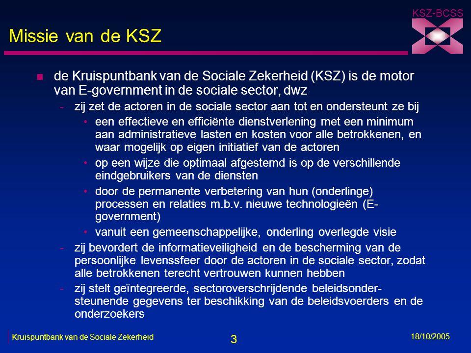 3 KSZ-BCSS 18/10/2005 Kruispuntbank van de Sociale Zekerheid Missie van de KSZ n de Kruispuntbank van de Sociale Zekerheid (KSZ) is de motor van E-government in de sociale sector, dwz -zij zet de actoren in de sociale sector aan tot en ondersteunt ze bij •een effectieve en efficiënte dienstverlening met een minimum aan administratieve lasten en kosten voor alle betrokkenen, en waar mogelijk op eigen initiatief van de actoren •op een wijze die optimaal afgestemd is op de verschillende eindgebruikers van de diensten •door de permanente verbetering van hun (onderlinge) processen en relaties m.b.v.