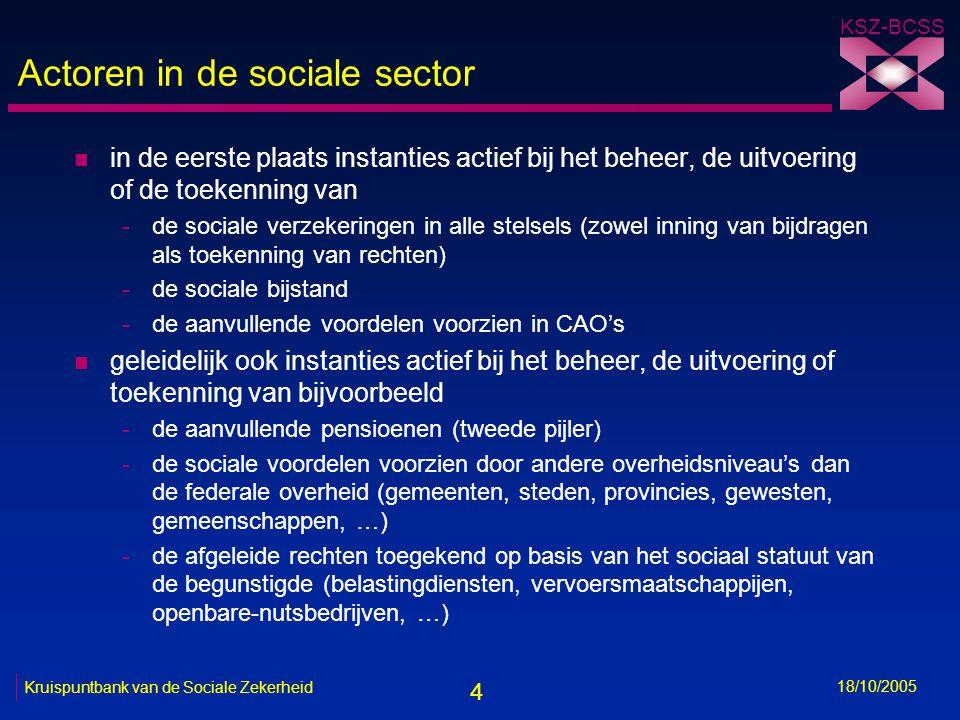 4 KSZ-BCSS 18/10/2005 Kruispuntbank van de Sociale Zekerheid Actoren in de sociale sector n in de eerste plaats instanties actief bij het beheer, de uitvoering of de toekenning van -de sociale verzekeringen in alle stelsels (zowel inning van bijdragen als toekenning van rechten) -de sociale bijstand -de aanvullende voordelen voorzien in CAO's n geleidelijk ook instanties actief bij het beheer, de uitvoering of toekenning van bijvoorbeeld -de aanvullende pensioenen (tweede pijler) -de sociale voordelen voorzien door andere overheidsniveau's dan de federale overheid (gemeenten, steden, provincies, gewesten, gemeenschappen, …) -de afgeleide rechten toegekend op basis van het sociaal statuut van de begunstigde (belastingdiensten, vervoersmaatschappijen, openbare-nutsbedrijven, …)
