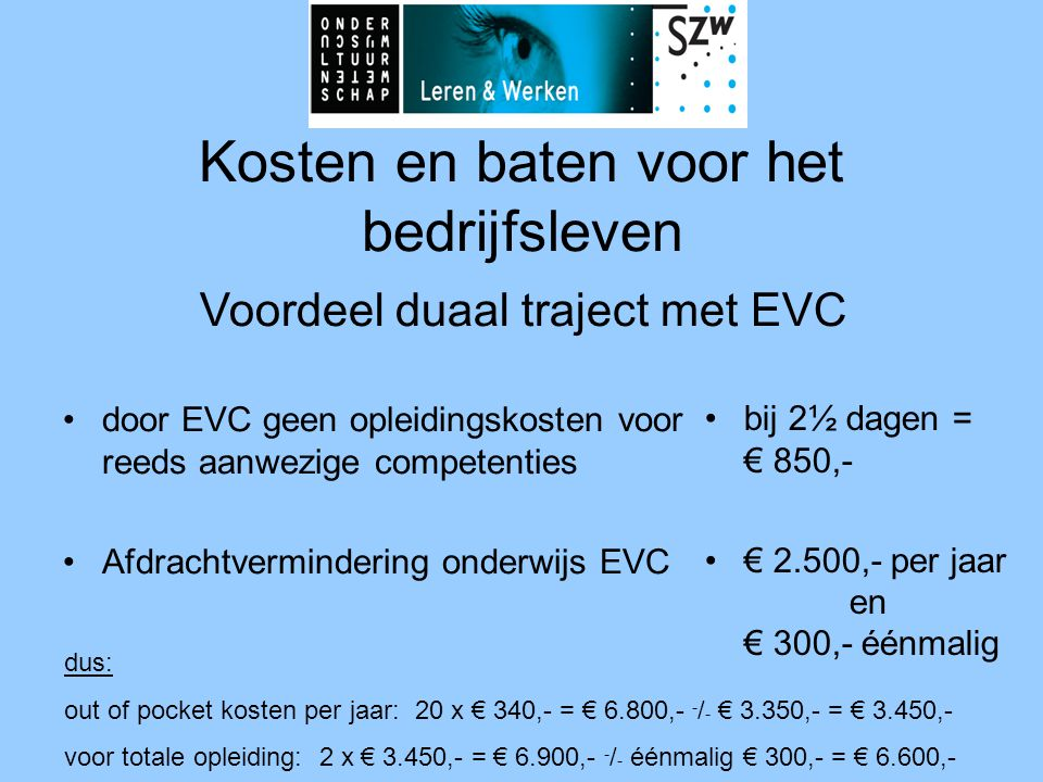 Kosten en baten voor het bedrijfsleven •door EVC geen opleidingskosten voor reeds aanwezige competenties •Afdrachtvermindering onderwijs EVC •bij 2½ dagen = € 850,- •€ 2.500,- per jaar en € 300,- éénmalig dus: out of pocket kosten per jaar: 20 x € 340,- = € 6.800,- - / - € 3.350,- = € 3.450,- voor totale opleiding: 2 x € 3.450,- = € 6.900,- - / - éénmalig € 300,- = € 6.600,- Voordeel duaal traject met EVC