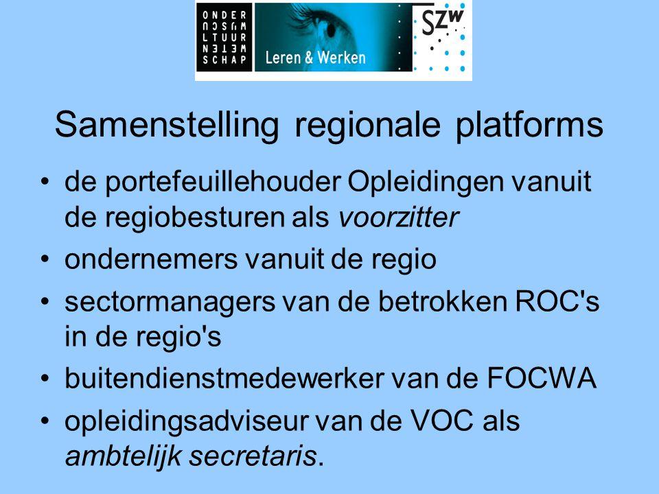 Samenstelling regionale platforms •de portefeuillehouder Opleidingen vanuit de regiobesturen als voorzitter •ondernemers vanuit de regio •sectormanagers van de betrokken ROC s in de regio s •buitendienstmedewerker van de FOCWA •opleidingsadviseur van de VOC als ambtelijk secretaris.