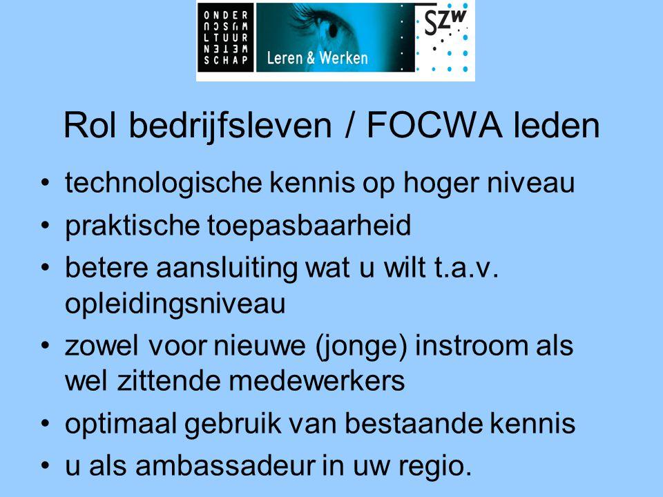 Rol bedrijfsleven / FOCWA leden •technologische kennis op hoger niveau •praktische toepasbaarheid •betere aansluiting wat u wilt t.a.v. opleidingsnive