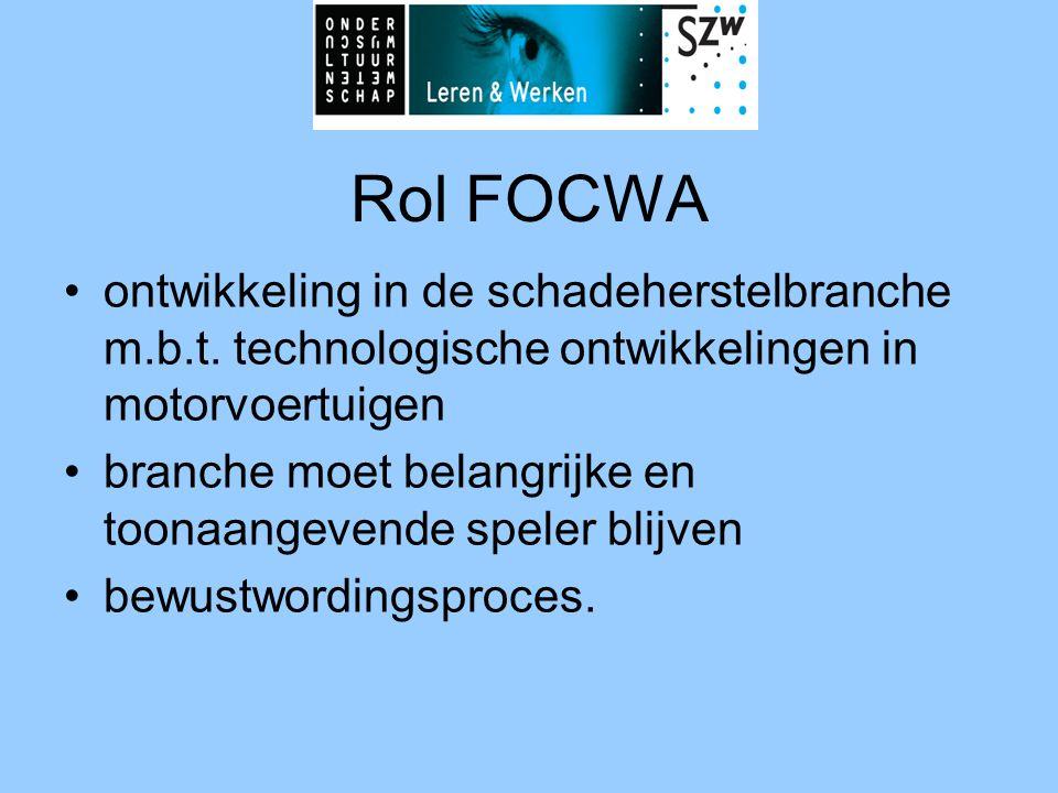 Rol FOCWA •ontwikkeling in de schadeherstelbranche m.b.t. technologische ontwikkelingen in motorvoertuigen •branche moet belangrijke en toonaangevende