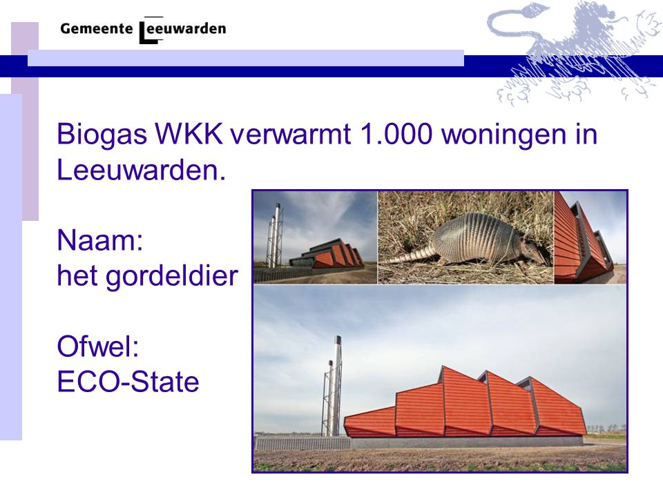 Biogas WKK verwarmt 1.000 woningen in Leeuwarden. Naam: het gordeldier Ofwel: ECO-State