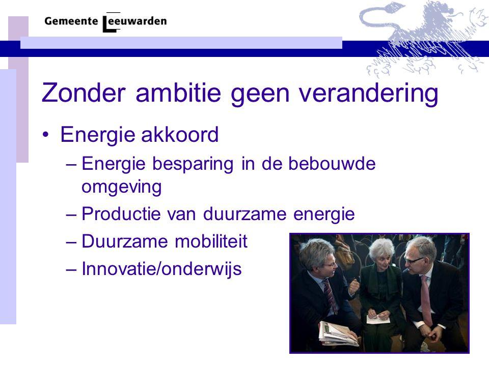 Zonder ambitie geen verandering •Energie akkoord –Energie besparing in de bebouwde omgeving –Productie van duurzame energie –Duurzame mobiliteit –Innovatie/onderwijs