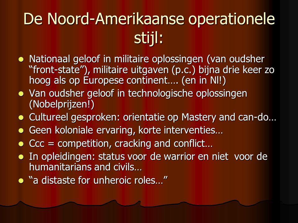 De Noord-Amerikaanse operationele stijl:  Nationaal geloof in militaire oplossingen (van oudsher front-state ), militaire uitgaven (p.c.) bijna drie keer zo hoog als op Europese continent….