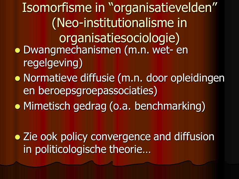 Isomorfisme in organisatievelden (Neo-institutionalisme in organisatiesociologie)  Dwangmechanismen (m.n.