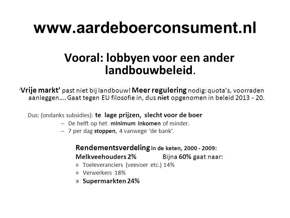 www.aardeboerconsument.nl Vooral: lobbyen voor een ander landbouwbeleid.