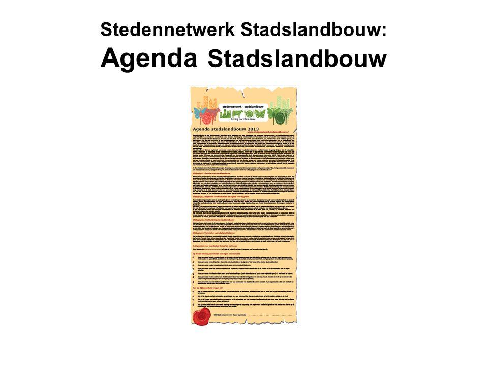 Stedennetwerk Stadslandbouw: Agenda Stadslandbouw