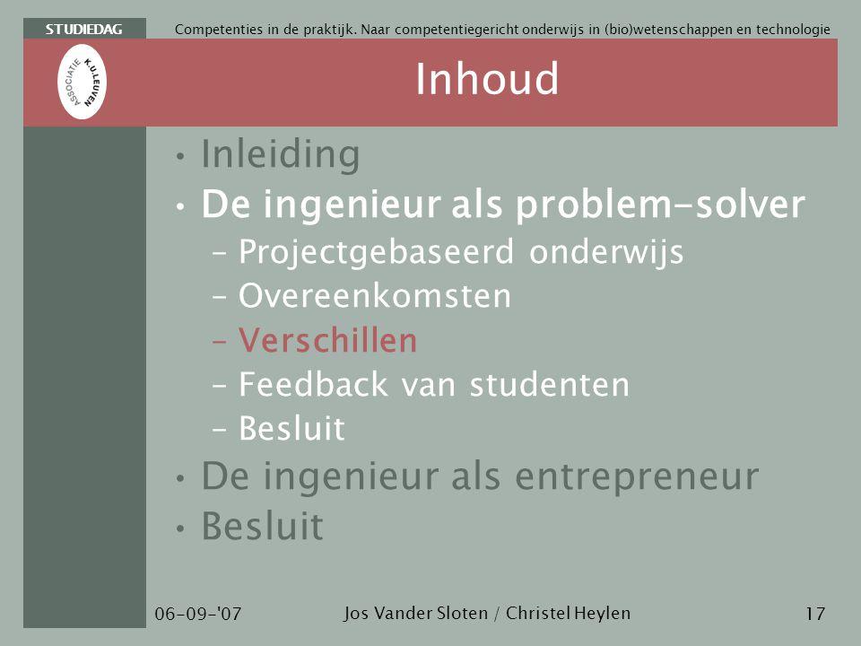 STUDIEDAG Jos Vander Sloten / Christel Heylen 06-09- 07 Competenties in de praktijk.