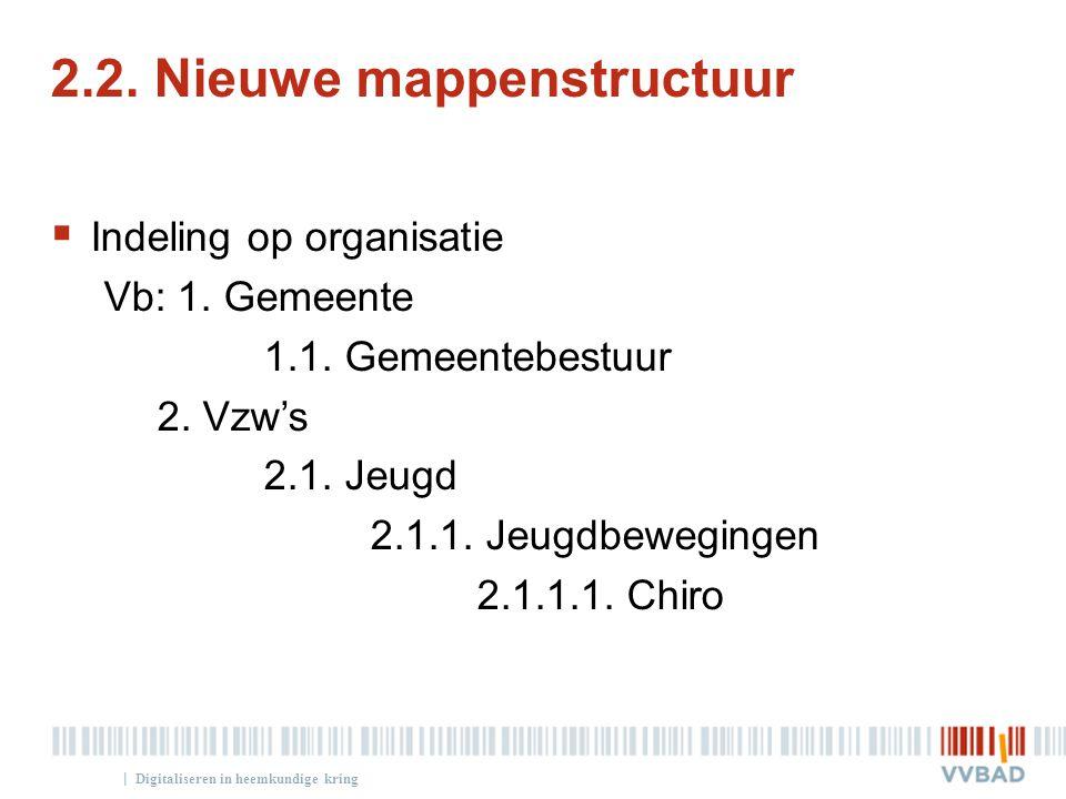 | 2.2. Nieuwe mappenstructuur  Indeling op organisatie Vb: 1. Gemeente 1.1. Gemeentebestuur 2. Vzw's 2.1. Jeugd 2.1.1. Jeugdbewegingen 2.1.1.1. Chiro