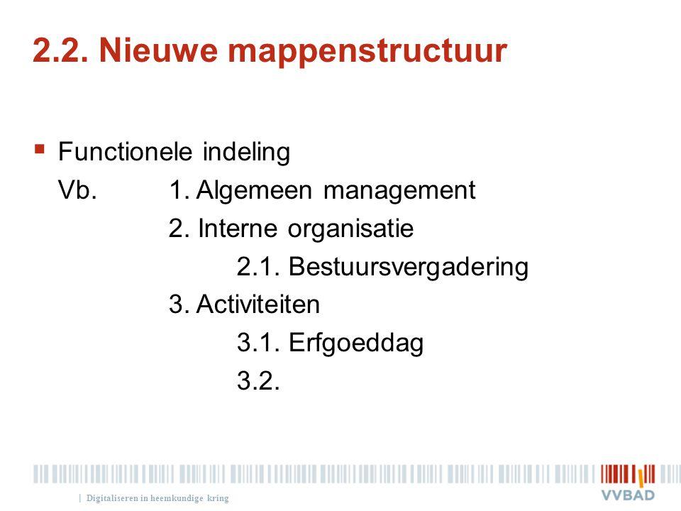| 2.2. Nieuwe mappenstructuur  Functionele indeling Vb. 1. Algemeen management 2. Interne organisatie 2.1. Bestuursvergadering 3. Activiteiten 3.1. E