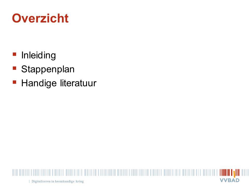| Overzicht  Inleiding  Stappenplan  Handige literatuur Digitaliseren in heemkundige kring