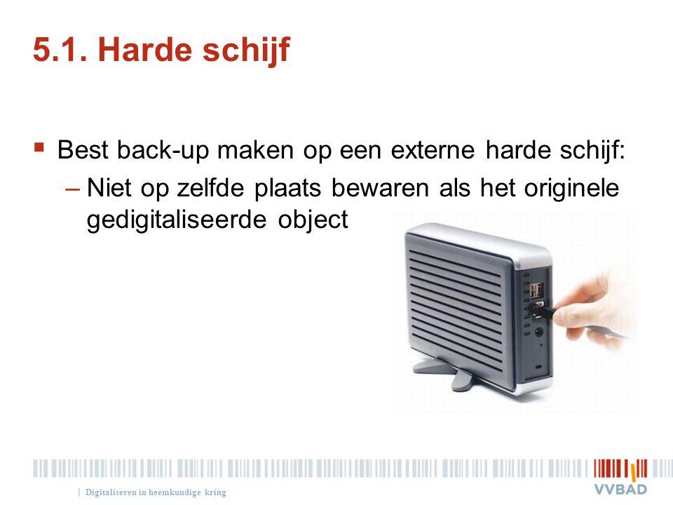| 5.1. Harde schijf  Best back-up maken op een externe harde schijf: –Niet op zelfde plaats bewaren als het originele gedigitaliseerde object Digital