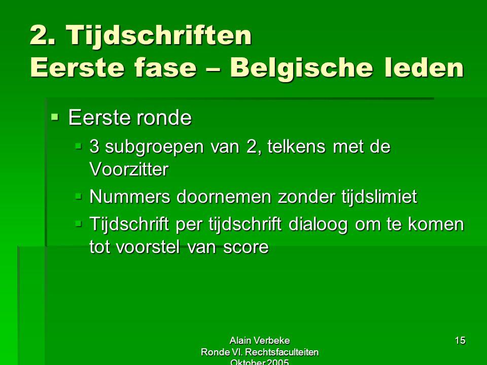 Alain Verbeke Ronde Vl. Rechtsfaculteiten Oktober 2005 15 2. Tijdschriften Eerste fase – Belgische leden  Eerste ronde  3 subgroepen van 2, telkens