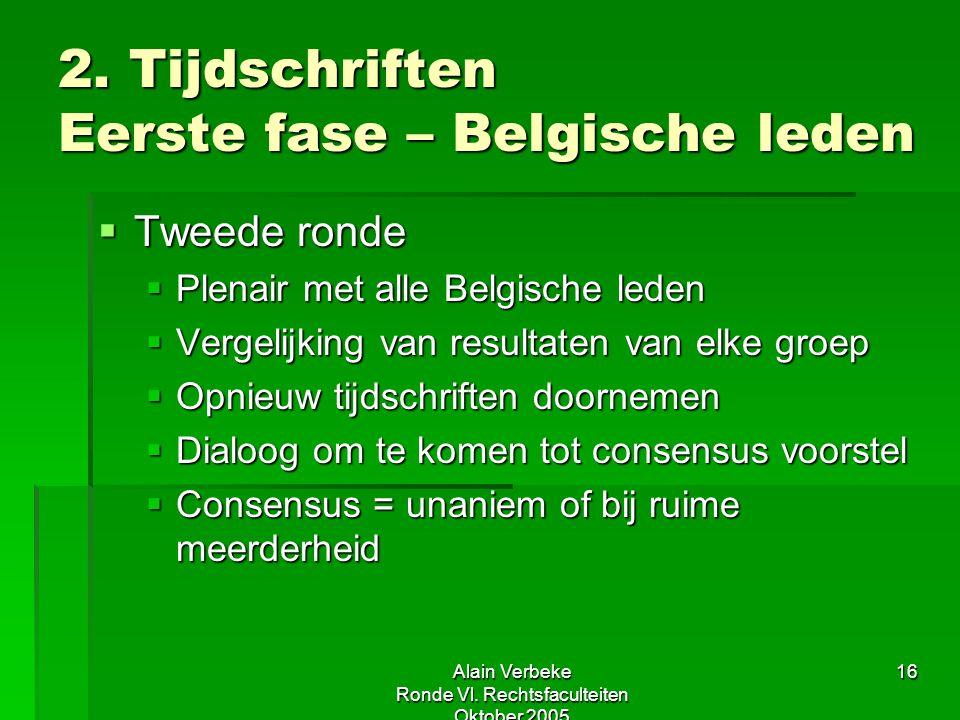Alain Verbeke Ronde Vl. Rechtsfaculteiten Oktober 2005 16 2. Tijdschriften Eerste fase – Belgische leden  Tweede ronde  Plenair met alle Belgische l